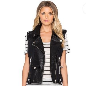 Blank NYC Faux Leather Moto Vest in Evil Ways L
